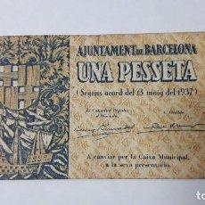 Billetes locales: UNA PESSETA AJUNTAMENT DE BARCELONA 1937, BILLETE LOCAL GUERRA CIVIL ESPAÑOLA. Lote 98832283