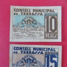 Billetes locales: 2 BILLETE LOCAL - 10 Y 15 CENTIMOS - CONSELL MUNICIPAL DE TERRASSA (BARCELONA) - ...R-7633. Lote 99087499