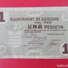 Billetes locales: ESCASO BILLETE LOCAL -UNA PESSETA, AJUNTAMENT DE GUISSONA (LLEIDA - LERIDA)...R-7640. Lote 99207507