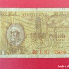Billetes locales: BILLETE LOCAL - UNA PESETA - CONSELL MUNICIPAL DE REUS (TARRAGONA) .. R-7656. Lote 99460199