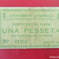 Billetes locales: BILLETE LOCAL - UNA PESETA - AJUNTAMENT DE TARREGA (LLEIDA , LERIDA) .. R-7658. Lote 99460775