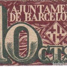 Billetes locales: BILLETE DEL AJUNTAMENT DE BARCELONA DE 10 CENTIMOS DEL AÑO 1937 . Lote 99752183