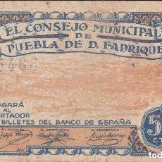 Billetes locales: BILLETE DE 50 CENTIMOS DEL CONSEJO MUNICIPAL PUEBLA DE DON FADRIQUE DEL AÑO 1937 GRANADA (MUY RARO). Lote 100064491