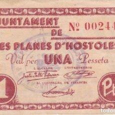 Billetes locales: BILLETE DE 1 PESETA DEL AJUNTAMENT DE LES PLANES D'HOSTOLES DEL AÑO 1937 (RARO). Lote 100065323