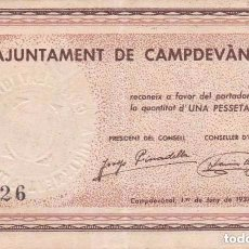 Billetes locales: BILLETE DE 1 PESETA DEL AJUNTAMENT DE CAMPDEVANOL DEL AÑO 1937 (SELLO SECO). Lote 100069043