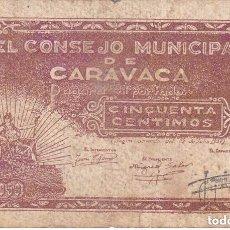 Billetes locales: BILLETE DE 50 CENTIMOS DEL CONSEJO MUNICIPAL DE CARAVACA DEL AÑO 1937 (RARO) MURCIA. Lote 100071883