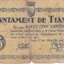 Billetes locales: BILLETE DE 25 CENTIMOS DEL AJUNTAMENT DE TIANA DEL AÑO 1937. Lote 100073127