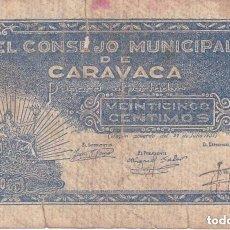 Billetes locales: BILLETE DE 25 CENTIMOS DEL CONSEJO MUNICIPAL DE CARAVACA DEL AÑO 1937 Nº00037 (ROTURA) . Lote 100074559