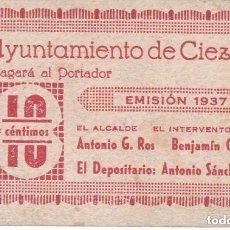 Billetes locales: BILLETE DE 10 CENTIMOS DEL AYUNTAMIENTO DE CIEZA (MURCIA) DEL AÑO 1937 - RARO. Lote 100075079