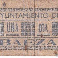 Billetes locales: BILLETE DE 1 PESETA DEL AYUNTAMIENTO DE BAEZA (JAEN) DEL AÑO 1937 - MUY RARO. Lote 100076847