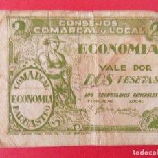 Billetes locales: ESCASO BILLETE LOCAL DE 2 PESETAS,CONSEJO COMARCAL BARBASTRO ECONOMIA (HUESCA).... R-7690. Lote 100453023