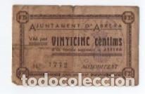 BILLETE LOCAL AJUNTAMENT DE ABRERA VINTICINC CENTIMS 1937 segunda mano