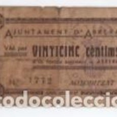 Billetes locales: BILLETE LOCAL AJUNTAMENT DE ABRERA VINTICINC CENTIMS 1937. Lote 100484911