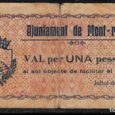 Billetes locales: BILLETE LOCAL GUERRA CIVIL AJUNTAMENT DE MONTROIG - TARRAGONA - 1 PESETA 1937. Lote 100999095
