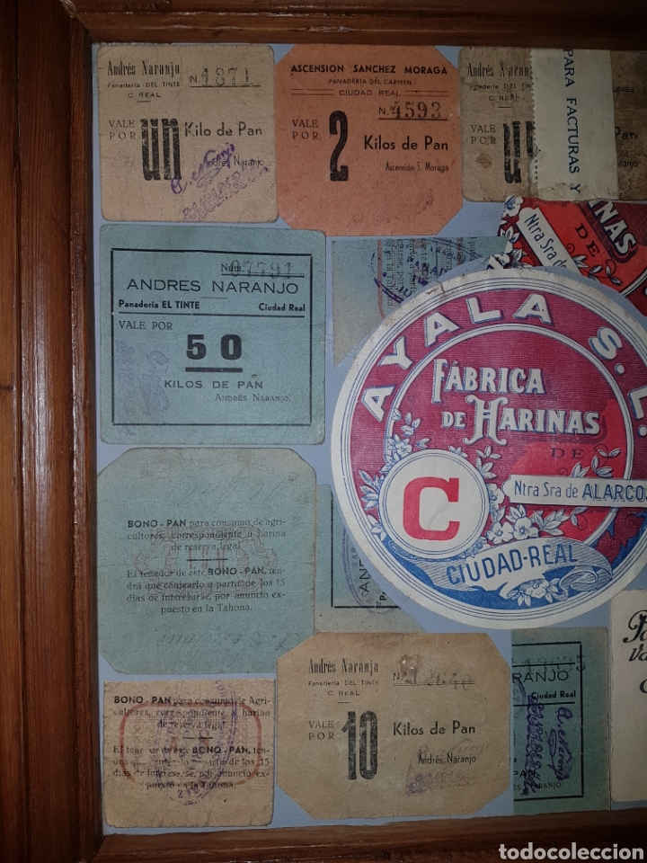 Billetes locales: Cuadro con vales de pan y harina de Ciudad Real Guerra civil - Foto 2 - 101052182