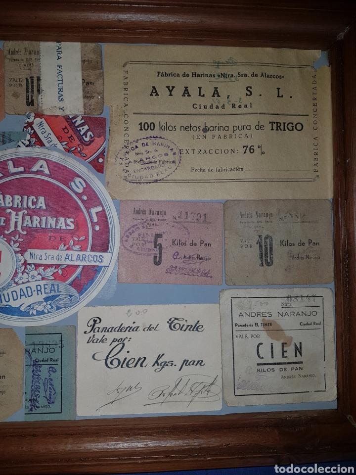 Billetes locales: Cuadro con vales de pan y harina de Ciudad Real Guerra civil - Foto 3 - 101052182