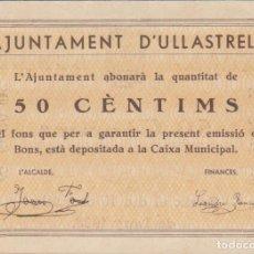 Billetes locales: BILLETES LOCALES - ULLASTRELL - BARCELONA - 50 CÉNTIMS - T-3028 (EBC+). Lote 101498607
