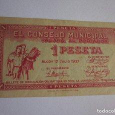 Billetes locales: PESETA DE ALCOY. 1937. EXCELENTE.. Lote 101800619
