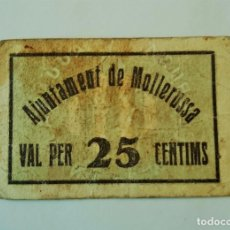 Billetes locales: F 1613 BILLETE AJUNTAMENT DE MOLLERUSSA MOLLERUSA 25 CENTIMOS - R. Lote 102100831
