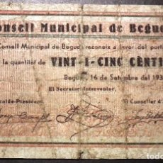 Billetes locales: BILLETE LOCAL BEGUDA 25 CTS. Lote 102284063