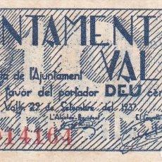 Billetes locales: BILLETE DE 10 CENTIMOS DEL AJUNTAMENT DE VALLS DEL AÑO 1937 SIN CIRCULAR. Lote 102800495