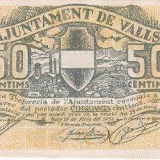 Billetes locales: BILLETE DE 50 CENTIMOS DEL AJUNTAMENT DE VALLS DEL AÑO 1937 SERIE B SIN CIRCULAR. Lote 102801747