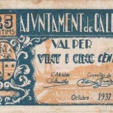 Billetes locales: BILLETE DE 25 CENTIMOS DEL AJUNTAMENT DE CALELLA DEL AÑO 1937 SERIE A. Lote 102802127
