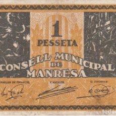 Billetes locales: BILLETE DE 1 PESETA DEL CONSELL MUNICIPAL DE MANRESA DEL AÑO 1937 SERIE C. Lote 103135171