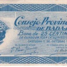 Billetes locales: BILLETE DE 25 CENTIMOS DEL CONSEJO MUNICIPAL DE BADAJOZ DEL AÑO 1937 . Lote 103150419
