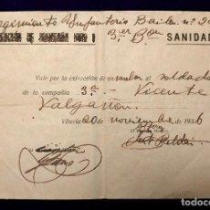 Billetes locales: RARO BILLETE.VITORIA 1936.REGIMIENTO INFANTERIA BAILEN N°24.VALE POR EXTRACCION.GUERRA CIVIL.SANIDAD. Lote 103212587