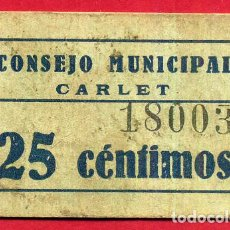 Billetes locales: BILLETE LOCAL, GUERRA CIVIL , 25 CENTIMOS ,CONSEJO MUNICIPAL CARLET , EBC , VALENCIA ,ORIGINAL. Lote 103501007