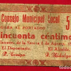 Billetes locales: BILLETE LOCAL, GUERRA CIVIL , 50 CENTIMOS, VILLANUEVA DE LA SERENA , BADAJOZ ,ORIGINAL. Lote 103501271