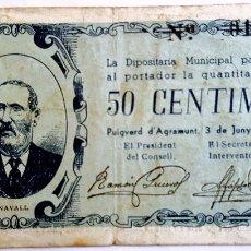 Billetes locales: BILLETE 50 CENTIMOS AJUNTAMENT PUIGVERD D'AGRAMUNT JUNIO 1937 - T2356. Lote 86109412