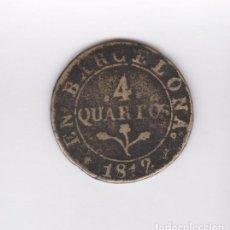 Billetes locales: (MONEDAS) JOSE NAPOLEON 4 QUARTOS 1812 - FUNDIDA (BARCELONA) CCT-78. Lote 104277327