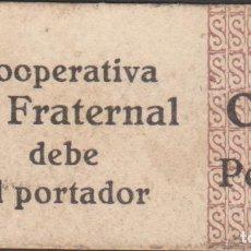 Billetes locales: BILLETES LOCALES - COOP. LA FRATERNAL - VILASSAR DE DALT - BARCELONA - 0,10 PESETAS - L-522. Lote 104330111