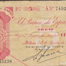 Billetes locales: BILLETES LOCALES - BILBAO 5 PESETAS 1936 - SERIE A - PG-391 (MBC-). Lote 104330735