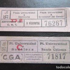 Billetes locales: CAPICUA CAPICUAS - 2 BILLETES COMPAÑIA GENERAL AUTOBUSES VALE GUERRA CIVIL CGA CNT SINDICATO LEER IN. Lote 105724559