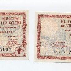 Billetes locales: 2 BILLETES 1 PESETA DEL CONSELL MUNICIPAL DE VILANOVA I LA GELTRU - 1937 CORRELATIVOS (SC). SELL. Lote 106547143