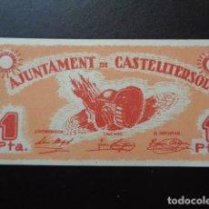 Billetes locales: CASTELLTERSOL. BARCELONA. 1 PESETA. BILLETE LOCAL. SC. Lote 106606359