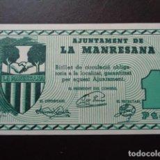 Billetes locales: LA MANRESANA. BARCELONA. 1 PESETA. BILLETE LOCAL. SC. Lote 106606371