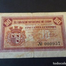 Billetes locales: BILLETE EL CONSEJO MUNICIPAL DE CASPE. 50 CTS. EL DE LA FOTO.. Lote 106617563