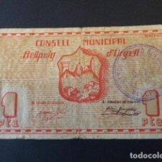 Billetes locales: BILLETE CONSELL MUNICIPAL BELLPUIG D´URGELL. 1 PTA. EL DE LA FOTO.. Lote 106617827