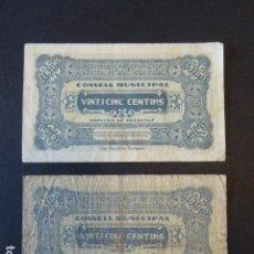 Billetes locales: LOTE DE 2 BILLETES D´ESPLUGA DE FRANCOLÍ. 25 CTS. LOS DE LA FOTO... Lote 106618131