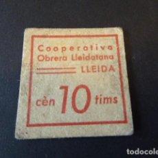Billetes locales: VALE COOPERATIVA OBRERA LLEIDATANA. LLEIDA. 10 CTS. . Lote 106619995