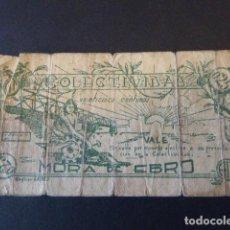Billetes locales: VALE COLECTIVIDAD MORA DE EBRO. 25 CTS. SEÑALES DE USO EN GENERAL.. Lote 106620911