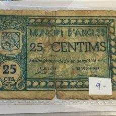 Billetes locales: BILLETE MUNICIPIO DE ANGLES 25 CÉNTIMOS, 22/6/37. Lote 107004699