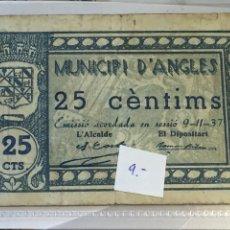 Billetes locales: BILLETE MUNICIPIO DE ANGLÈS 25 CÉNTIMOS FECHA 9/11/37. Lote 107005110
