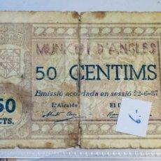 Billetes locales: BILLETE MUNICIPAL DE ANGLÈS, FECHA 22 DE JUNIO DEL 37, 50 CÉNTIMOS. Lote 107005974