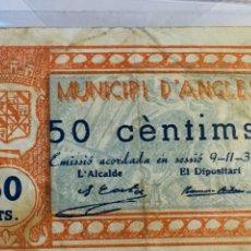 Billetes locales: BILLETE LOCAL DE ANGLÈS FECHA 9 DE NOVIEMBRE DE 1900 37,50CÉNTIMOS. Lote 107006087