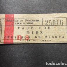 Billetes locales: VALE POR DIEZ CENTIMOS DE PESETA - TRANVIAS DE BARCELONA COLECTIVIZADOS CNT UGT GUERRA CIVIL BILLETE. Lote 107199159